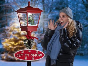 Snöande Gatlykta med LED-belysning
